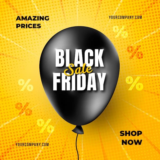 Realistische black friday-banner met ballonsjabloon Gratis Psd