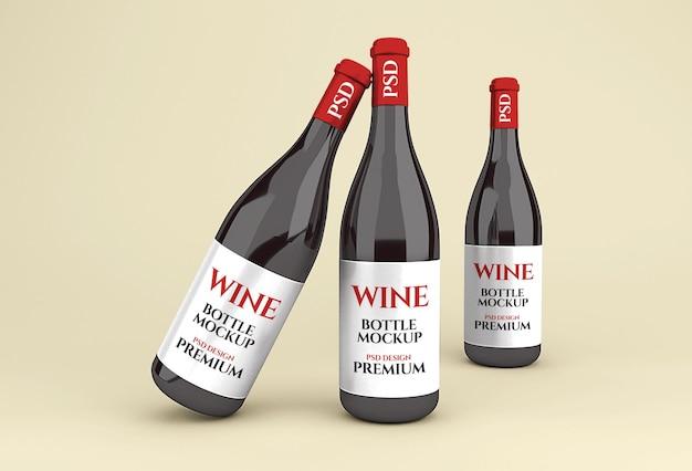 Realistische glazen rode wijnfles mockup Premium Psd