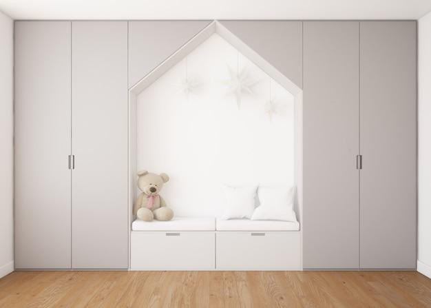 Realistische kinderachtige slaapkamer met kledingkast en een bed met teddybeer Gratis Psd