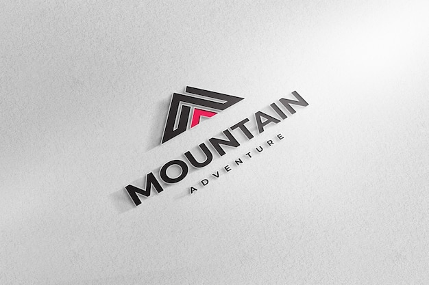 Realistische logo mockup teken wit papier achtergrond Premium Psd