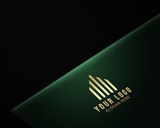 Realistische luxe gouden logo-modellen Premium Psd
