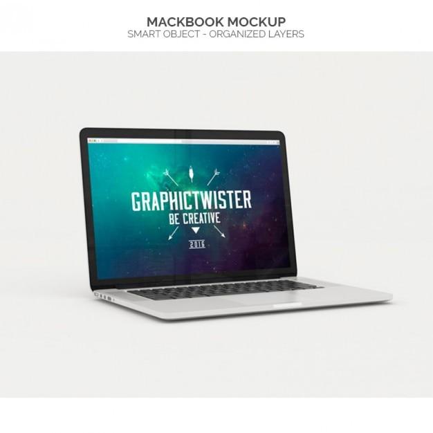 Realistische macbook mock up Gratis Psd