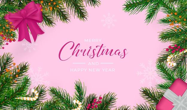 Realistische merry christmas-achtergrond Gratis Psd