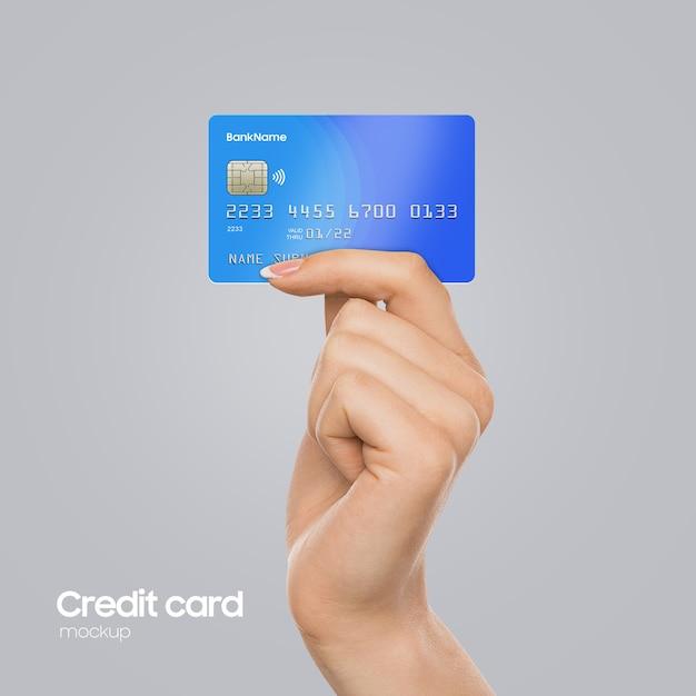 Realistische plastic kaart bij de hand mockup Premium Psd