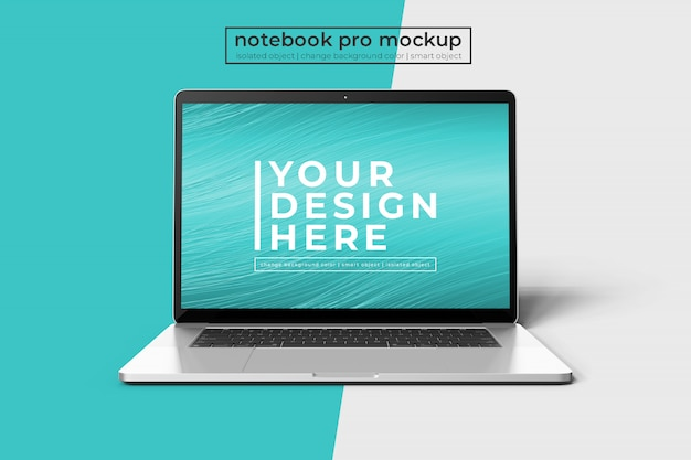 Realistische premium 15-inch notebook pro voor web, ui en applicatie photoshop mock up in vooraanzicht Premium Psd