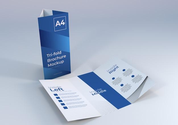 Realistische schone driebladige brochure mockupontwerp Premium Psd