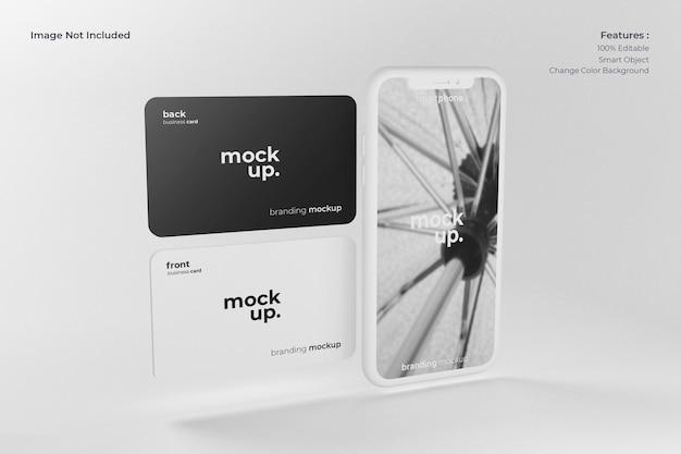 Realistische smartphone met visitekaartje mockup Premium Psd