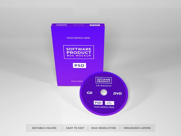 Realistische softwarebox-productmodel Premium Psd