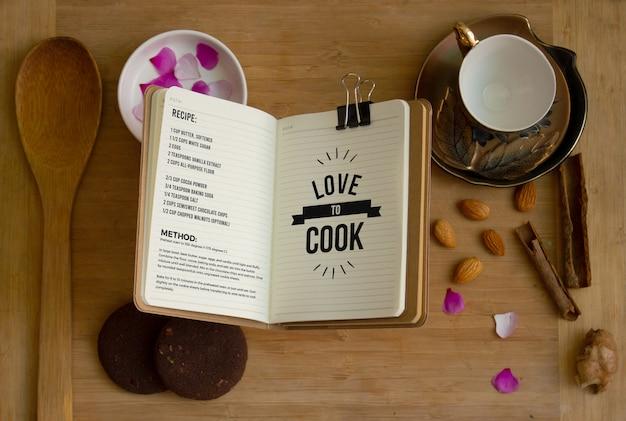 Receptenboek / typografie mockup Premium Psd