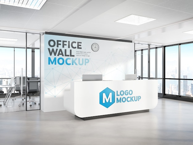 Reception in ufficio moderno mockup Psd Premium