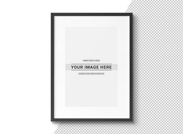 Recorta la maqueta rectangular negra del marco de fotos PSD Premium