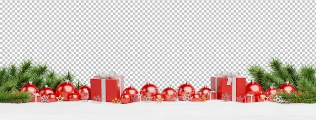 Recorte adornos navideños rojos y regalos alineados PSD Premium