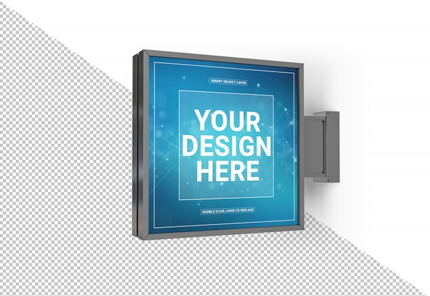Recorte la maqueta de letrero cuadrado de la tienda PSD Premium