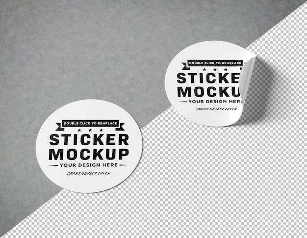 Recorte la pegatina circular en la superficie de hormigón maqueta PSD Premium
