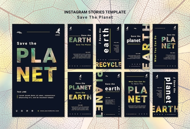 Red de aarde instagramverhalen Gratis Psd