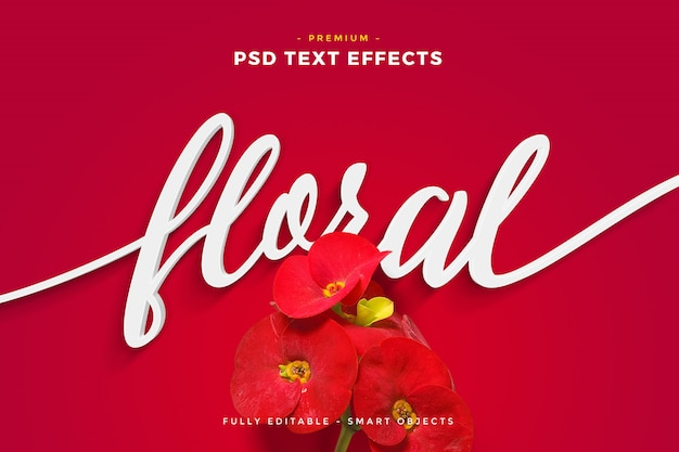 Red flower floral text effect mockup Premium Psd