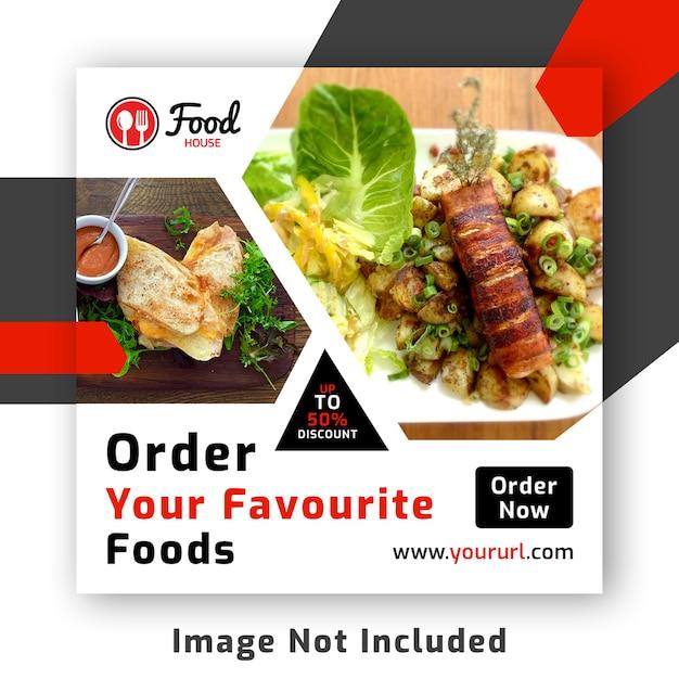 Red social de comida publicar banner psd plantilla PSD Premium