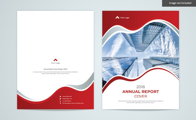 Red waves cover design - annual report 2 page covers PSD Premium