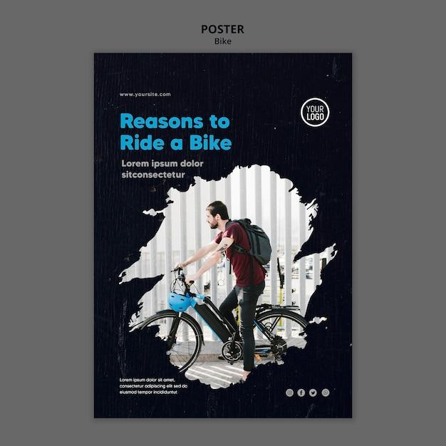 Redenen om een fietssjabloonposter te rijden Gratis Psd