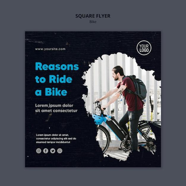 Redenen om een vierkante flyer-sjabloon voor fietsen te rijden Gratis Psd