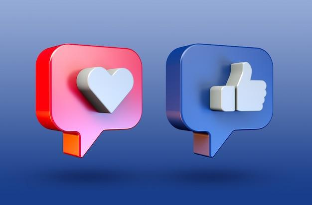Las redes sociales aman y les gusta el icono de botón 3d minimalista PSD Premium