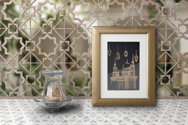 Regeling met moskee foto in een frame Gratis Psd