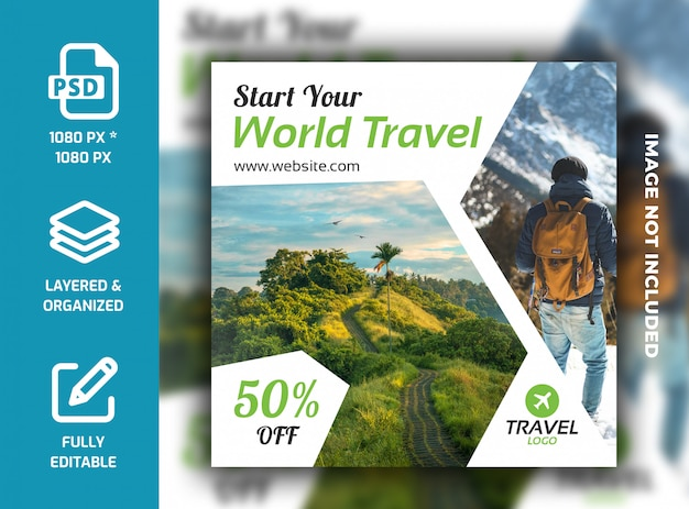 Reis vakantie vakantie social media bericht banner sjabloon psd Premium Psd