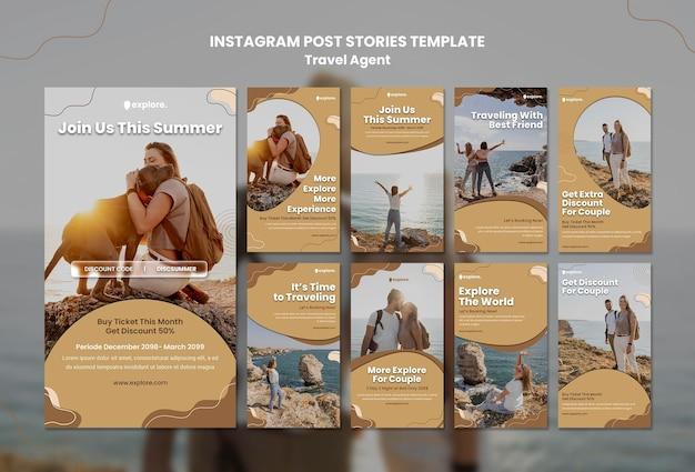 Reisbureau concept instagram postsjabloon Gratis Psd