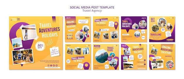 Reisbureau social media postsjabloon Gratis Psd