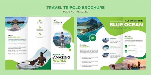 Reizen driebladige brochure template Premium Psd