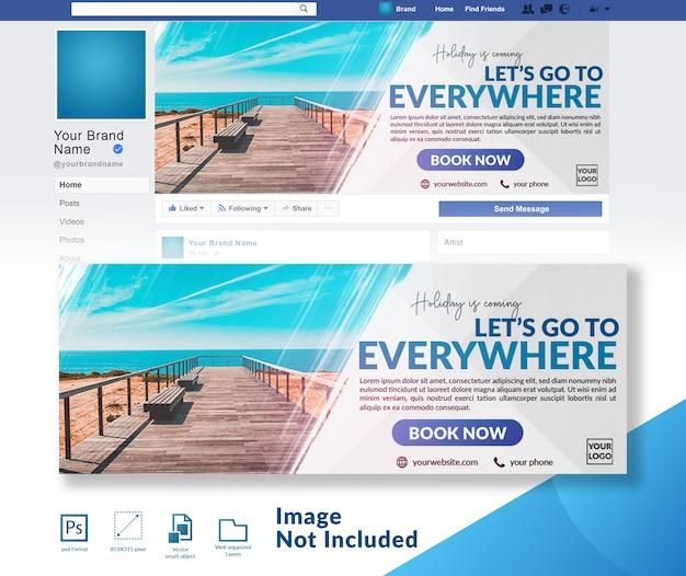 Reizen korting aanbieding banner social media voorbladsjabloon Premium Psd