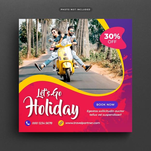Reizen vakantie vakantie post banner of sjabloon Premium Psd