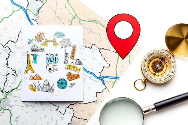 Reizigerskaart en planificatie Gratis Psd