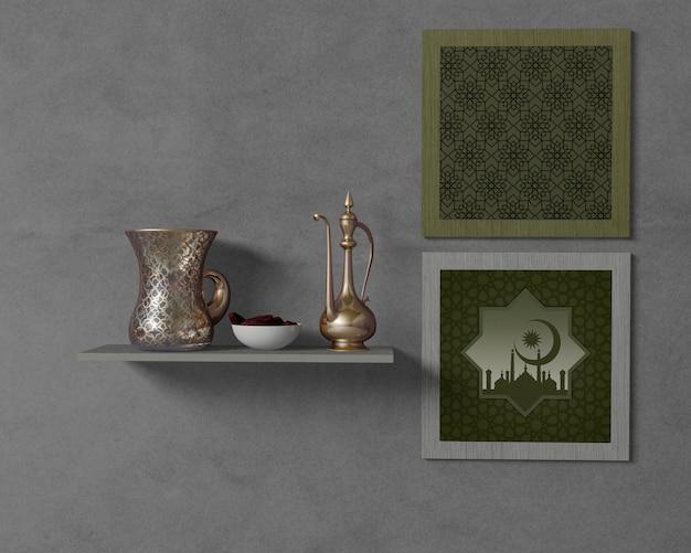 Religieus ramadan arrangement met frames mock-up Gratis Psd