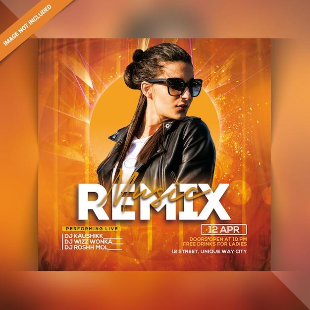 Remix flyer de fiesta de música PSD Premium