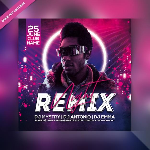 Remix nachtfeest flyer Premium Psd