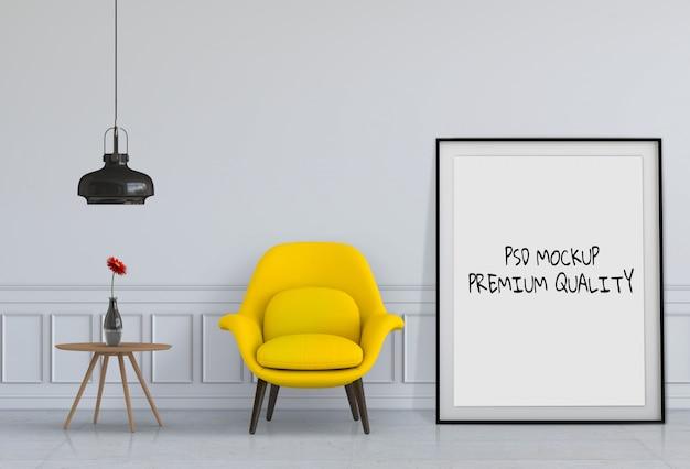 Rendering 3d di living room mockup Psd Premium