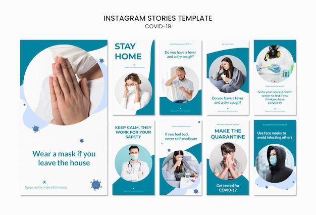 Resta a casa covid-19 modello di storie instagram Psd Gratuite