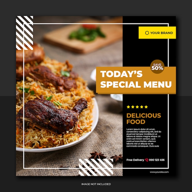 Restaurant banner en eten menu sociale media Premium Psd
