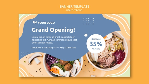 Restaurant banner sjabloon ontwerpthema Gratis Psd