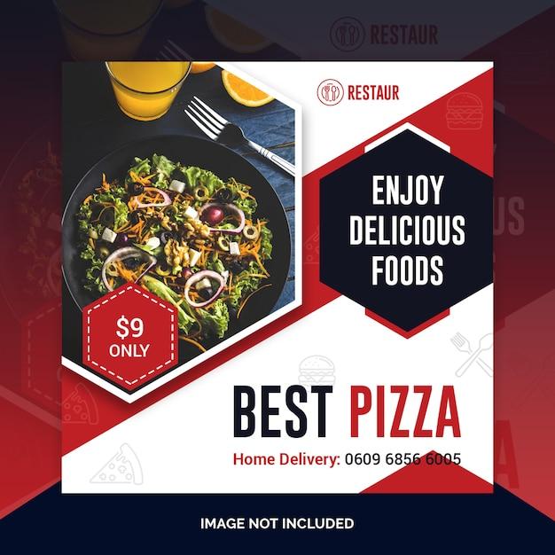 Restaurant eten sociale media post sjabloon voor spandoek Premium Psd