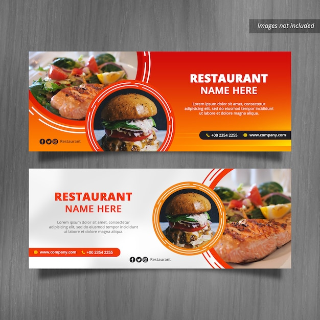 Restaurant facebook cover bannerontwerpen Premium Psd