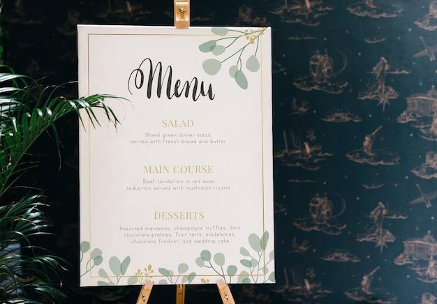 Restaurant huidige menukaart mockup Premium Psd