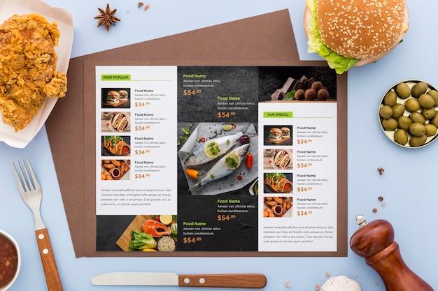 Restaurant menu concept mock-up Premium Psd