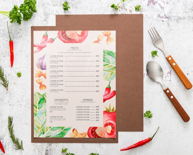 Restaurant menu concept mock-up Gratis Psd