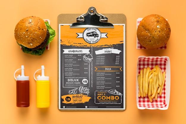 Restaurant menu concept mockup Premium Psd