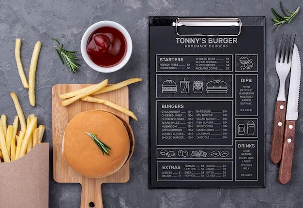 Restaurant menu concept mockup Gratis Psd
