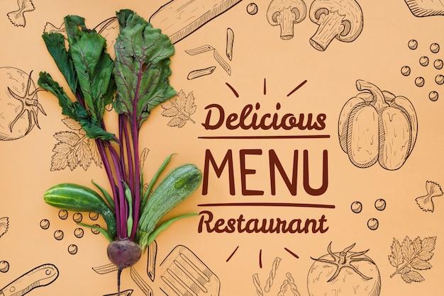 Restaurant menuachtergrond met radijzen Gratis Psd