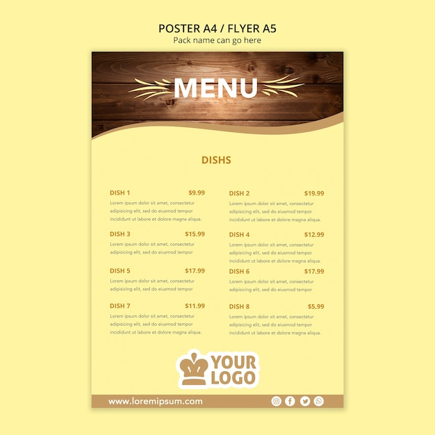 Restaurant poster menusjabloon Gratis Psd