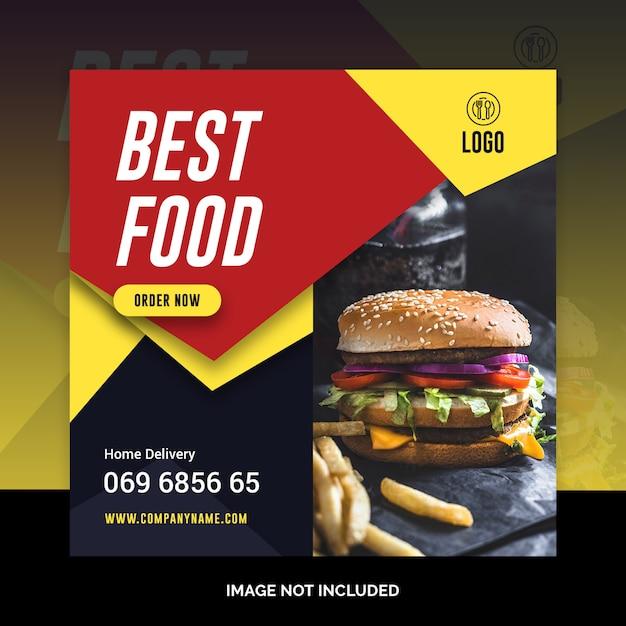 Restaurant sociale media berichtsjabloon Premium Psd